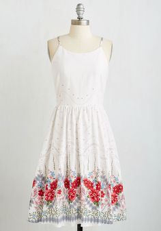 On Your Bouquet List Dress. Your long-term goal of living everyday as your truest self is becoming a reality, and in part thanks to this white sundress! #multi #modcloth