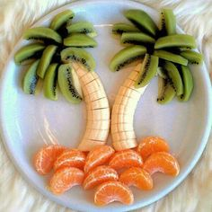 Fruit Beach Scene - Food Arrangement - Palm Tree from Bananas, Kiwis, and Oranges - Healthy Snacks