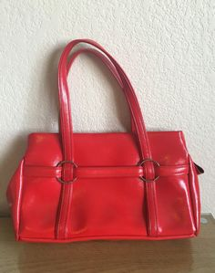Vintage Mod Handbag  Red Vinyl  Fun Retro Design by MissAtomicShop