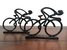 For my boss - Bicycle Rider Statue Bookends  Black Cast Iron by UrbanTradingPost