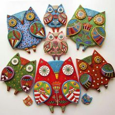 Author's ceramics Home and Interior photo only Polymer Clay Kunst, Polymer Clay Jewelry, Diy Clay, Clay Crafts, Clay Wall Art, Clay Birds, Ceramic Owl, Clay Ornaments, Paperclay