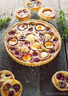 Plum and cherry Frangipane tart