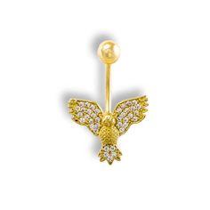 Luxusní Zlatý piercing do pupíku - Sovička se zirkony Belly Button Rings, Piercings, Jewelry, Peircings, Jewellery Making, Piercing, Jewlery, Jewelery, Jewerly