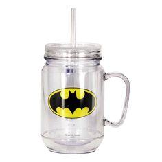Batman Clear Mason Jar with Lid