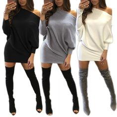 >> Click to Buy << Europe and the United States women's new winter sexy long-sleeved dress strapless tight buttocks solid mini dress nightclub #Affiliate