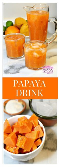 How to make papaya drink │Did you know that papayas are indigenous to southern Mexico and Central America? In Mexico, we love to make aguas (flavored waters) out of many different fruits, and their names are simple to figure out. Papaya Drink, Papaya Smoothie, Juice Smoothie, Papaya Juice Recipe, Fruit Drinks, Healthy Drinks, Healthy Recipes, Mix Drinks, Healthy Meals