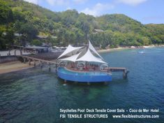 Tensile Structure by Flexible Structures International Membrane Structure, Tensile Structures, Seychelles, Sailing Ships, Boat, Architecture, Arquitetura, Dinghy, Boats