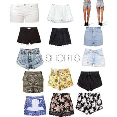 Shorts by prettyfulpam on Polyvore featuring polyvore, fashion, style, Topshop, Edwin, MANGO, Victoria's Secret PINK and H&M
