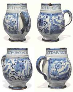 A LONDON DELFT NAMED AND DATED BLUE AND WHITE CHINOISERIE MUG