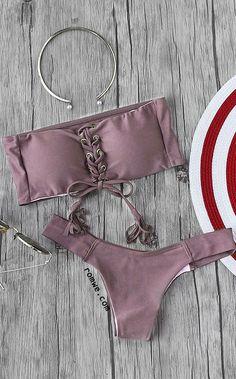 Eyelet Lace Up Tassel Bandeau Bikini Set