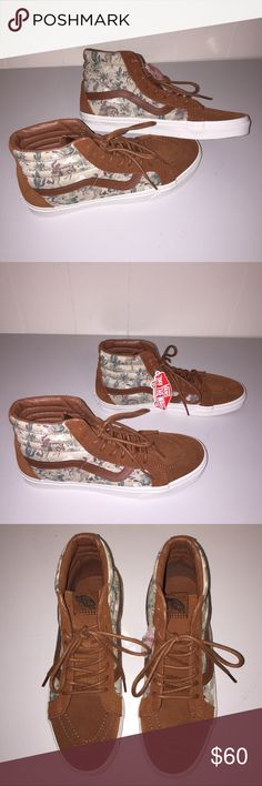 NWT Vans Men's Desert Cowboy SK8-Hi Reissue Keep the Wild Wild West alive in these totally fun and awesome cowboy and desert cactus printed shoes.  Suede leather and canvas upper.  Re-enforced toe caps to withstand repeated wear.  Padded collars for support and flexibility. Vans Shoes Sneakers