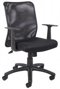 "Boss Budget Mesh Task Chair With T-Arms Product Rating:      Currently 5/5 Stars  SKU: B6106 Mesh back designed to prevent body heat and moisture build up. Breathable mesh fabric seat with ample padding. Upright locking position. Adjustable tilt tension control. Pneumatic gas lift seat height adjustment. 25"" nylon base. Hooded double wheel casters. T-arms. Availability: 1 Color(s) Available Pricing: $99.99"