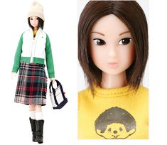 Momoko School Girl Mix 2005. A jersey jacket  a checkered skirt: a cute vintage clothes combo.