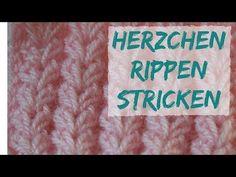 Herzrippchen Muster stricken | Strickmuster #59 - YouTube