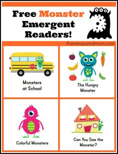 Monster Books for Kids: FREE Emergent Readers! (great for Halloween or any time of year)