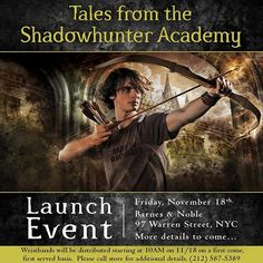 #TMI #Shadowhunters come celebrate Tales from the Shadowhunter Academy with me on 11/18 at @BNTribeca NYC! We'll be revealing the cover to a certain upcoming book..and expecting some VSG (very special guests) -- can't wait to see you!