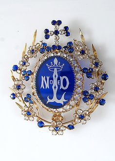 French Antique Blue Jeweled Notre Dame Candle Shade Ornament