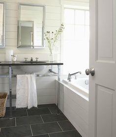 If not hardwood, I like slate tiles for floor Bathroom - floor tile - slate gray, white grout