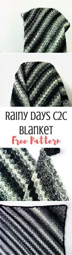 warm and cosy, this c2c blanket pattern work up quickly and includes a full tutorial on how to work this technique. The Rainy Days blanket is perfect for snuggling up to a good book :)