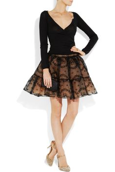 Red Valentino Devoré silk-organza skirt- for those ballerina days. Party Skirt, Silk Organza, Get Dressed, Passion For Fashion, Beautiful Dresses, Lace Skirt, Dress Up, Feminine, Style Inspiration
