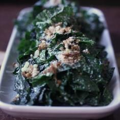 Vegetarian Kale Caesar Salad With Roasted Garlic Dressing