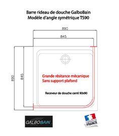 Barre de rideau de douche GalboBain pour receveur de douche carré 90x90. Design et grande robustesse mécanique sans support plafond.
