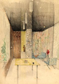 Architecture Concept Drawings, Architecture Building Design, Architecture Graphics, Organic Architecture, Carlo Scarpa, Artist And Craftsman, Mid Century House, Art Of Living, Modern Buildings