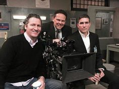 Tim Caviezel Kevin Chapman and Jim Caviezel on the set of Person of interest