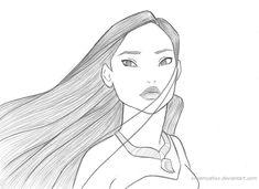 Another Pocahontas Sketch by xXSamyahXx on DeviantArt Disney Tattoo Easy Disney Drawings, Disney Character Drawings, Disney Drawings Sketches, Disney Princess Drawings, Cartoon Drawings, Cartoon Art, Cute Drawings, Drawing Sketches, Disney Pencil Drawings