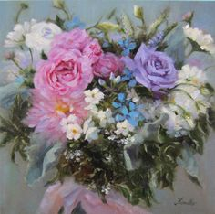 Custom Bridal Bouquet Paintings by Pat Fiorello by PatFiorelloPaintings on Etsy
