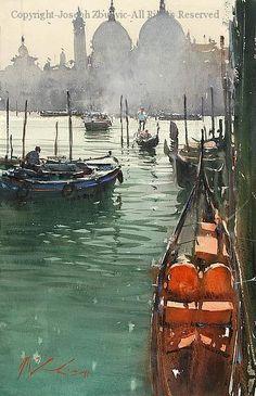 Gondola Stazione Venice - Watercolor by Joseph Zbukvic