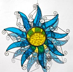 Stained Glass SUN Suncatcher - Deep Turquoise, Lemon Yellow, with Clear Glass Nuggets - USA HandMade