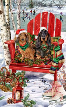 --Long Haired Dachshund blk/tan-red  - Christmas Holiday