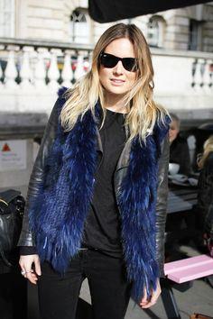 black leather jacket and dark blue fur