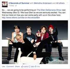 Yess!!! I love Ellen! She is always so hilarious :'D. It is gonna be awesome to see 5SOS there!!!!