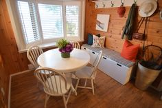 Waterfront cottage rental with gorgeous boathouse deck located on Rice Lake, only 1 hour and 40 minutes east of the CN Tower. Yes, that's us on your TV. Scott Mcgillivray, Rice Lake, Waterfront Cottage, Income Property, Hgtv, Cn Tower, Dining Table, Boathouse, Deck