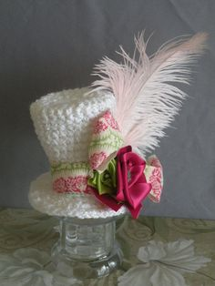 Custom Order Fancy Mini Top hat with feathers one by Snipitsink, $25.00