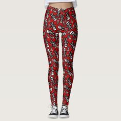 Skeleton on Red Background Leggings - red gifts color style cyo diy personalize unique