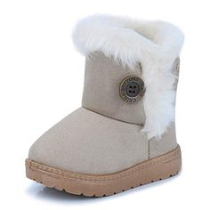 CIOR Fantiny Toddler Snow Boots for Baby Girl Fur Outdoor Slip-on Boots ( Toddler 6d22343999b5