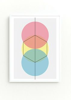 'How to draw a Hexagon' Giclee print: warm colourway– DOWSE