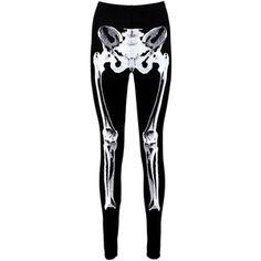 Boohoo Halloween Matilda Skeleton Front Leggings | Boohoo
