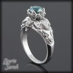 Montana Blue Sapphire and Diamond Signature Lotus Ring with hand carved petals - LS1157. $3,885.30, via Etsy.