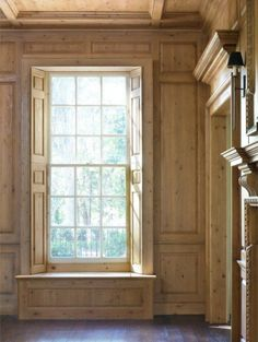 More traditional millwork paneling Wood Panel Walls, Wood Paneling, Paneled Walls, Wood Wall, Light Colored Wood, Muebles Living, Interior And Exterior, Interior Design, House Inside