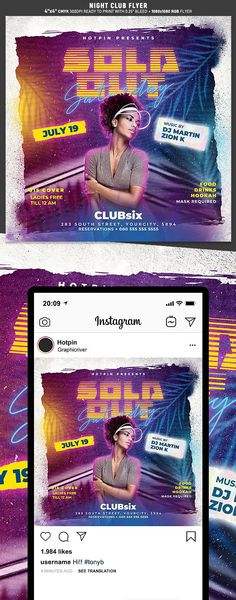 """Night Club Flyer Template is very modern psd flyer that will be the perfect invitation for your Night Club event or party! All elements are in individual layers and the text is fully editable! 2 PSD files – 4""""x4"""" with 0.25"""" bleed + 1080×1080 Rgb Social media ready Clearly labelled folders and layers"""