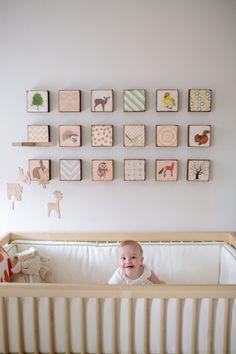 Whimsical woodland nursery. Adorable. Love the tile art. So smart.