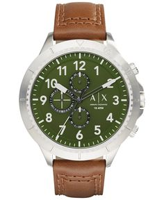 A|X Armani Exchange Men's Chronograph Dark Brown Leather Strap Watch 50mm AX1758 - Watches - Jewelry & Watches - Macy's