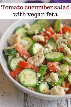 Tomato cucumber salad is the quintessential summer side dish. Using the best produce of the season, it crunches with freshness & garlicky bite. It's great as a side dish for barbecues and picnics. Vegan and gluten-free. #summerfood #summersalad #cucumbersalad #vegancheese Easy Green Salad Recipes, Lettuce Salad Recipes, Vegetarian Salad Recipes, Best Salad Recipes, Vegan Lunch Recipes, Cucumber Salad, Healthy Salad Recipes, Summer Recipes, Cooking Recipes