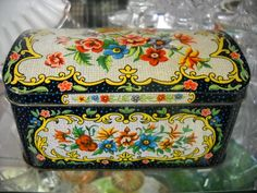 Black Candy Tin Container w/ Beautiful Floral Design England.