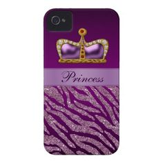 Purple Princess Crown Faux Glitter Zebra Print iPhone 4 Case