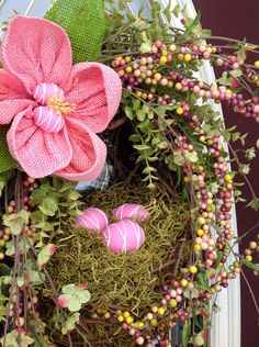 "Spring Wreath Easter Wreath Summer Wreath Grapevine Oval Wreath Basket Decor...""Easter Eggs"". $85.00, via Etsy."